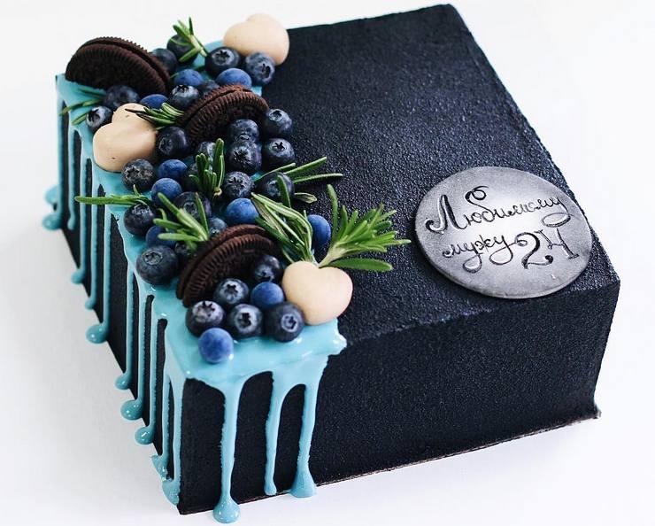 Черный квадратный торт с велюровым покрытием любимому мужу на день рождения