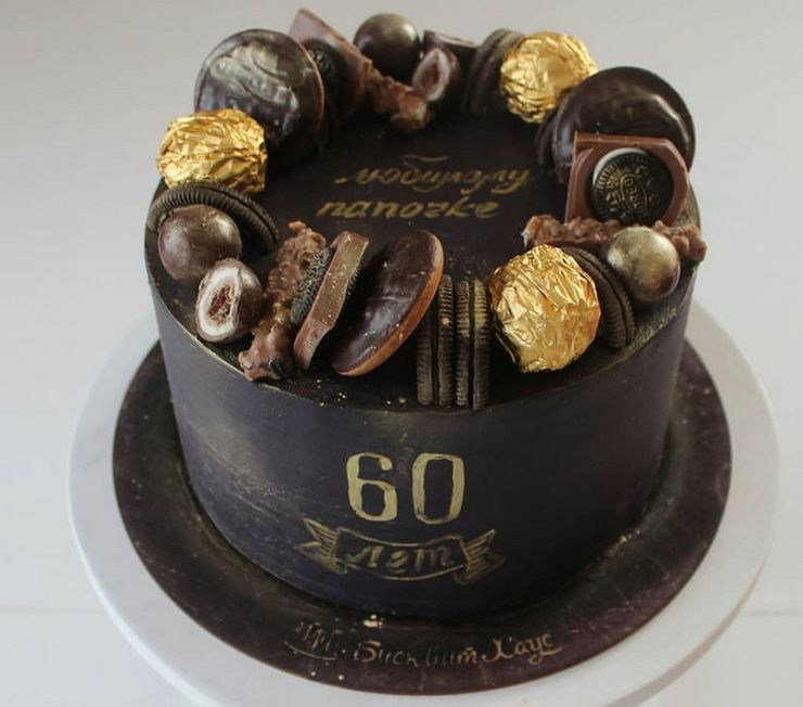 Аккуратный торт мужу на день рождения на 60 лет