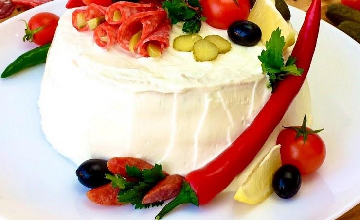 Мясной несладкий торт мужу на день рождения