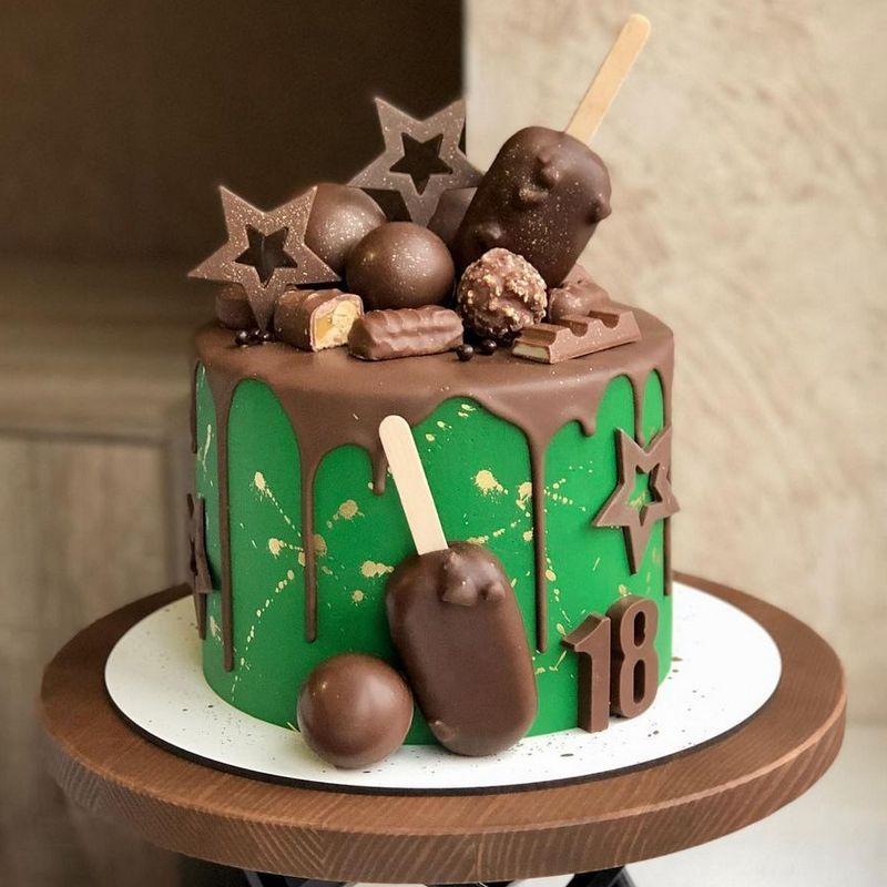 Зеленый торт для мужа или мужчины на день рождения