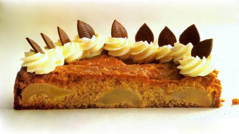 Вкусный миндально грушевый пирог