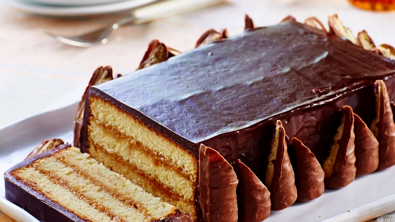 Домашний торт Твикс без яиц, молока, масла и сахара