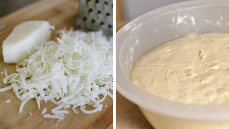 Подготавливаем начинку из сыра для хачапури по-аджарски
