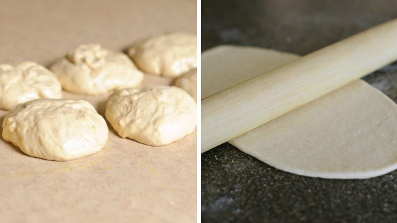 Разделяем тесто на части для лодочек с сыром