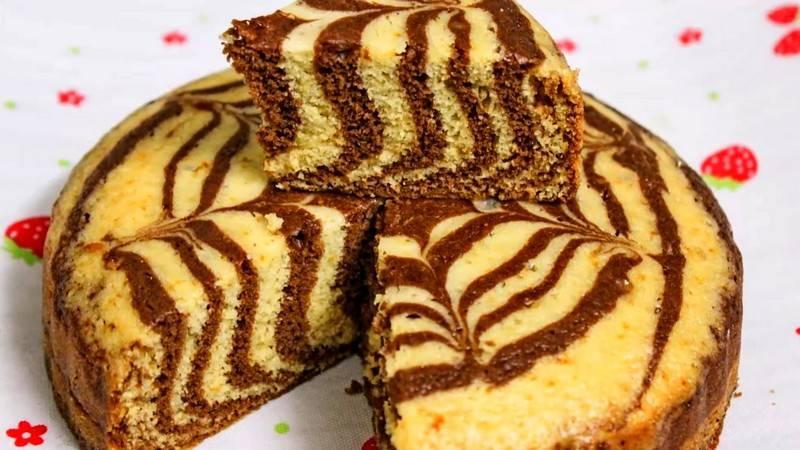 Пирог Зебра в мультиварке рецепт пошагово с фото