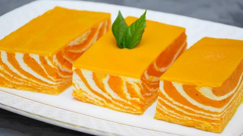 Творожно-тыквенный пирог запеканка Зебра пошаговый рецепт в духовке