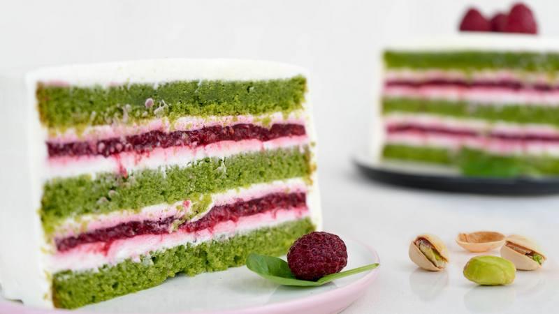 Фисташковый торт с малиной рецепт