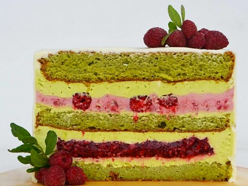 Торт фисташка малина с муссом рецепт с фото пошагово
