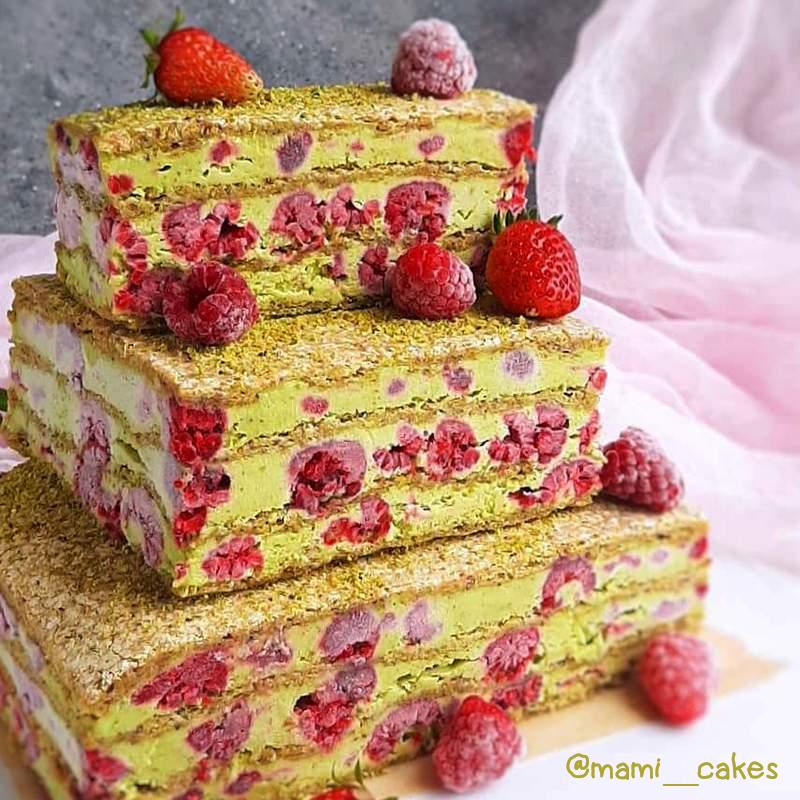 Фисташковый торт мороженое с малиной рецепт с фото