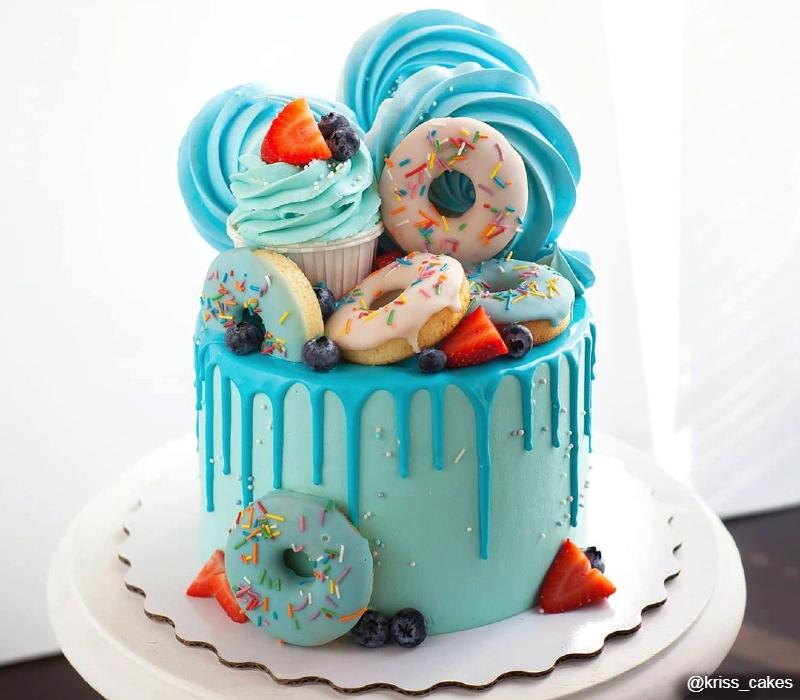 Голубой торт девочке на день рождения 10 лет