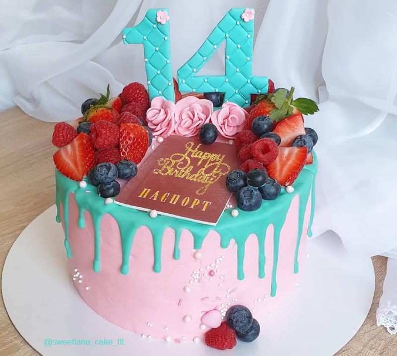 Красивый тортик девочке на 14 лет день рождения