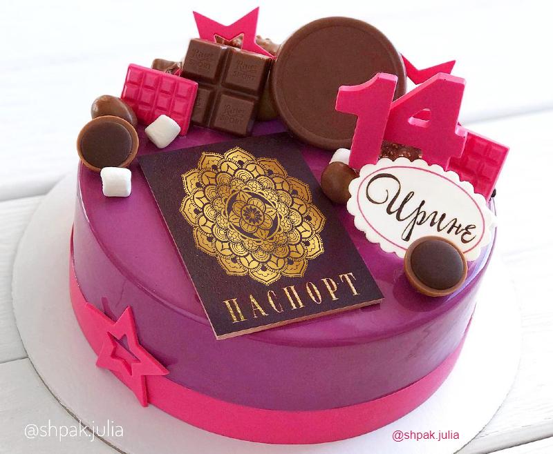 Муссовый тортик девочке на 14 лет с паспортом и шоколадным декором