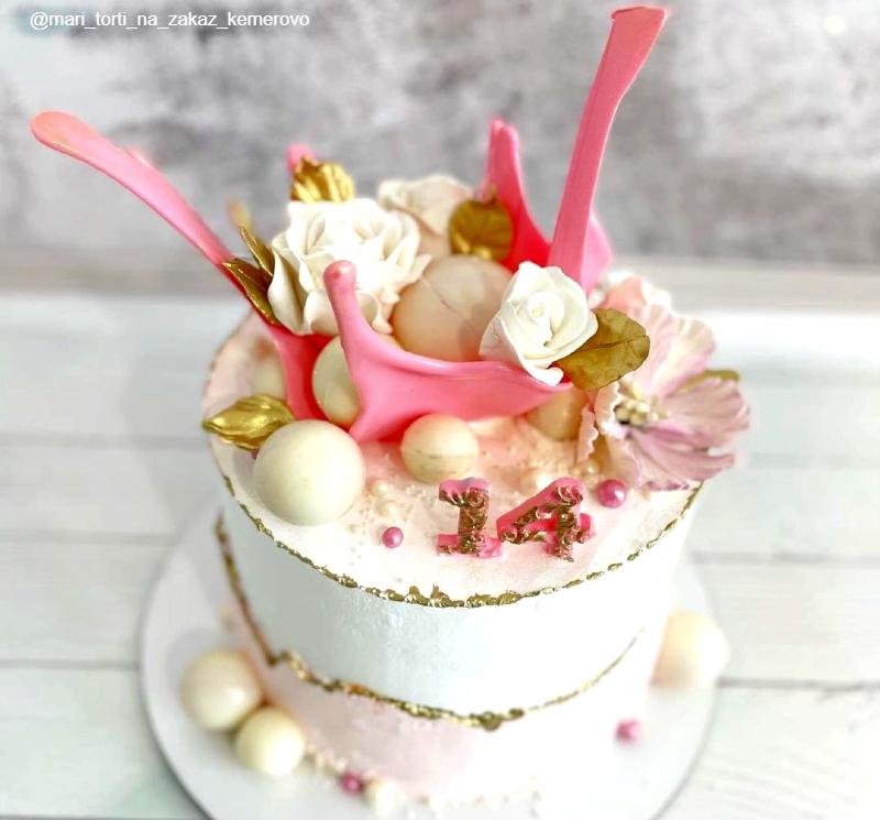 Нежный торт девочке на 14 лет на день рождения