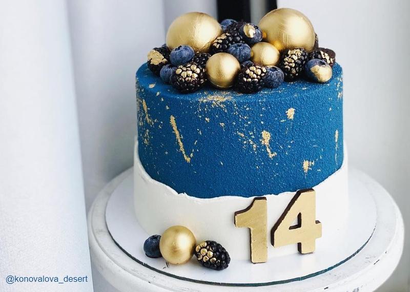 Синий торт велюр девочке на 14 лет