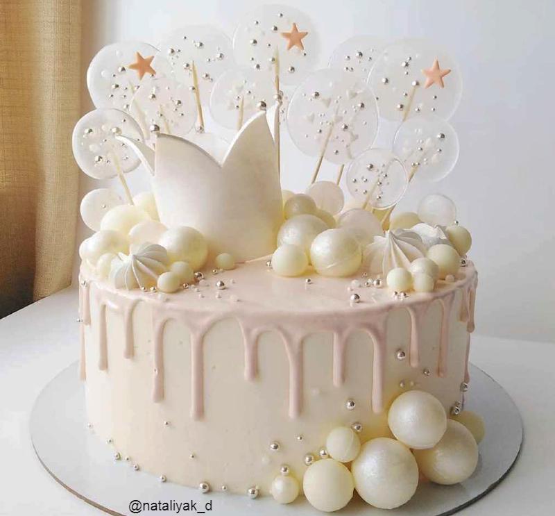 Белый торт девочке на 1 год