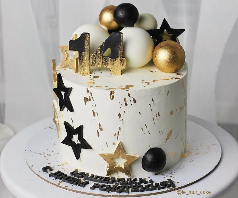 Торт белый с золотом девочке на 14 лет