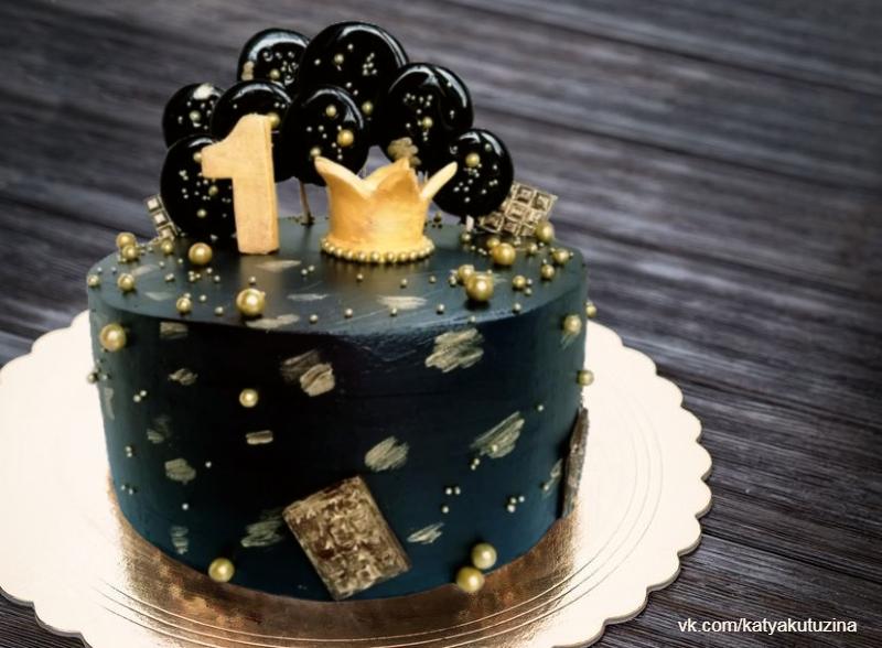 Черный торт девочке на день рождения на 1 год