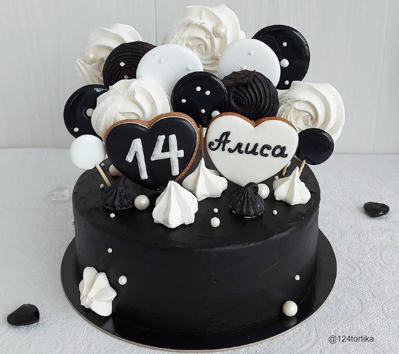 Торт черное белое девочке на 14 лет