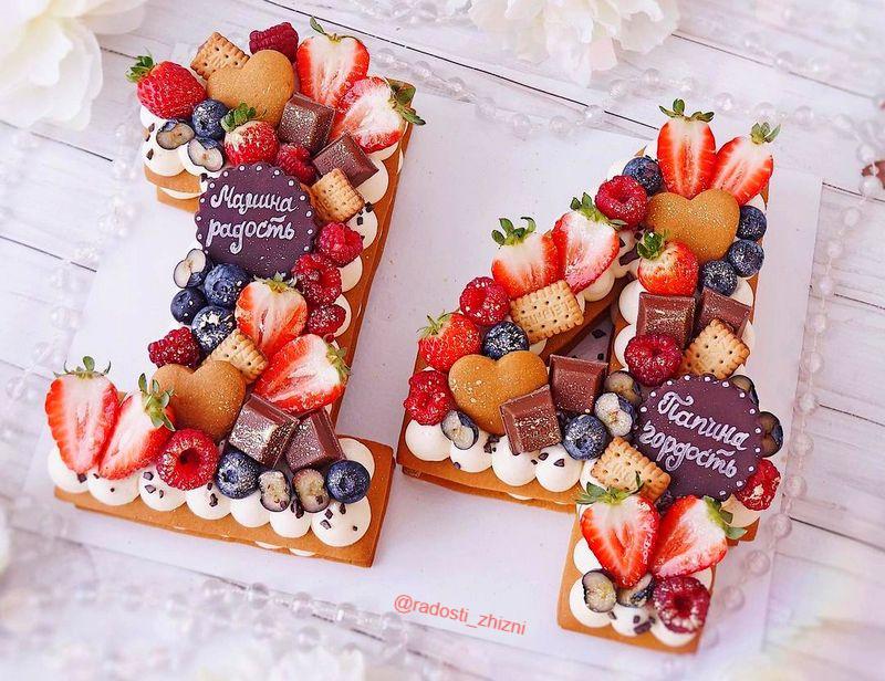 Торт цифра 14 с надписями девочке на день рождения