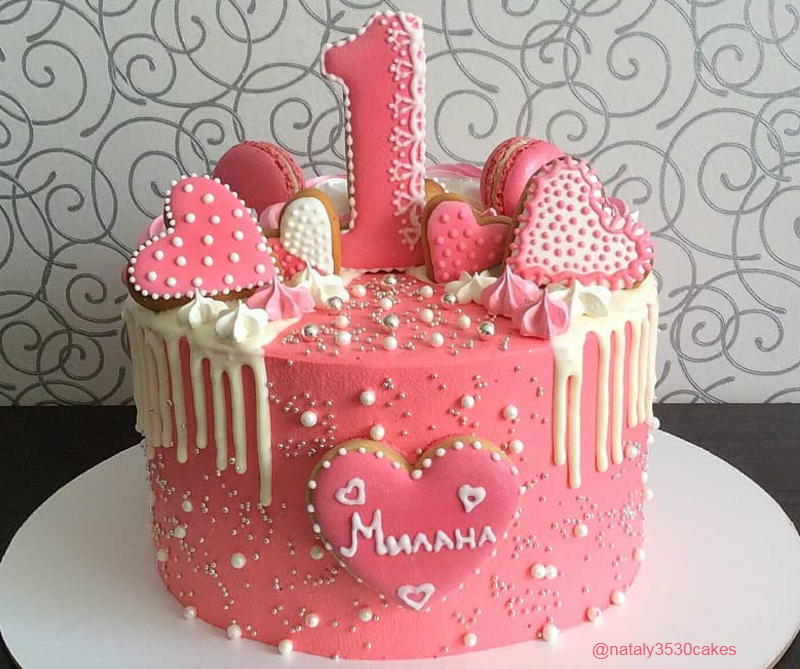Торт девочке на день рождения на 1 год