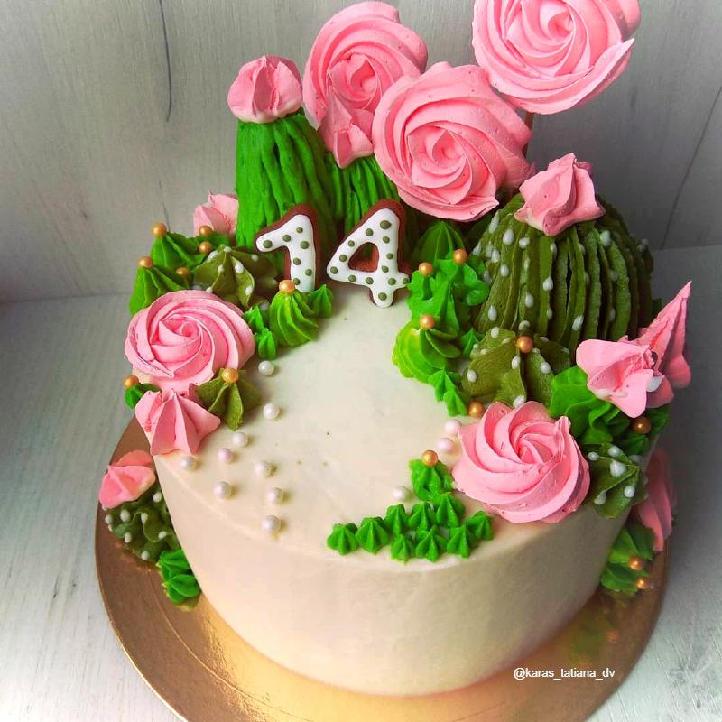 Торт с кактусами девочке на день рождения на 14 лет