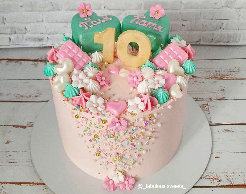 Тортик для двойняшек девочек на 10 лет