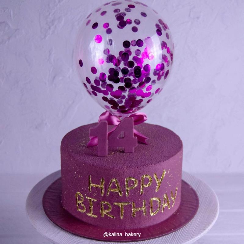 Торт фиолетовый велюр с шариком девочке на день рождения