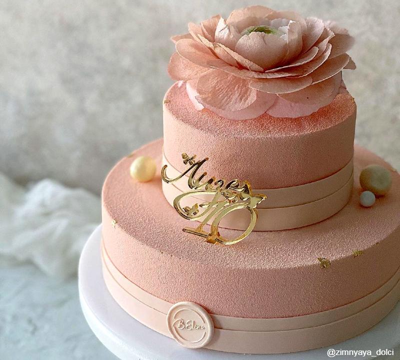 Муссовый двухъярусный торт девочке на 10 лет