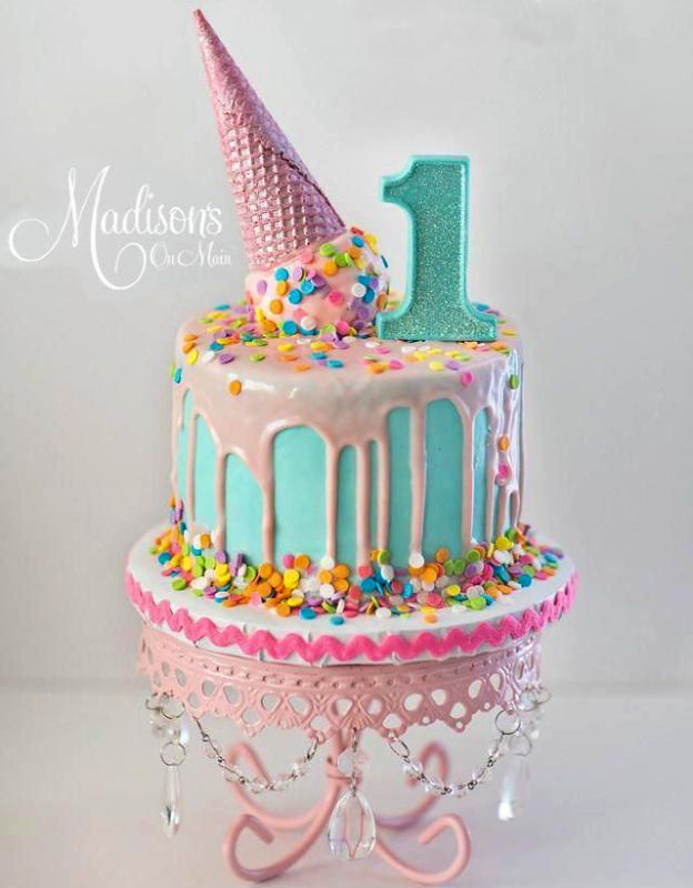 торт рожок мороженого девочке на 1 год