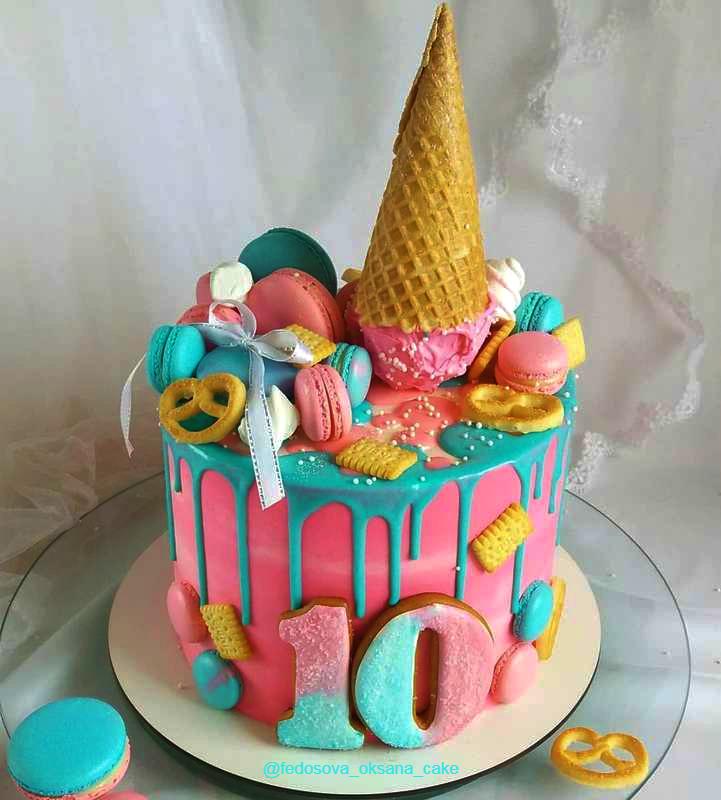 Торт рожок мороженого девочке на день рождения на 10 лет