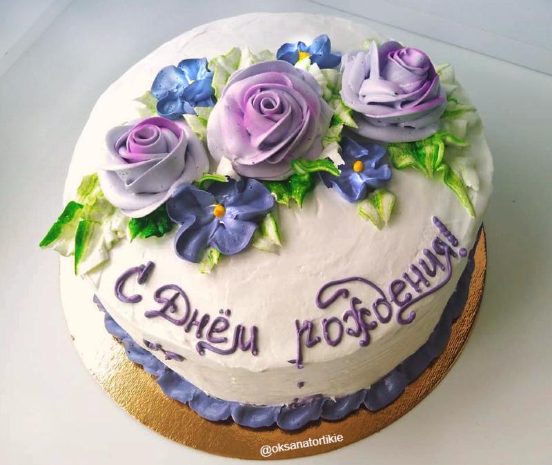 Торт с кремовыми цветами девочке на 10 лет