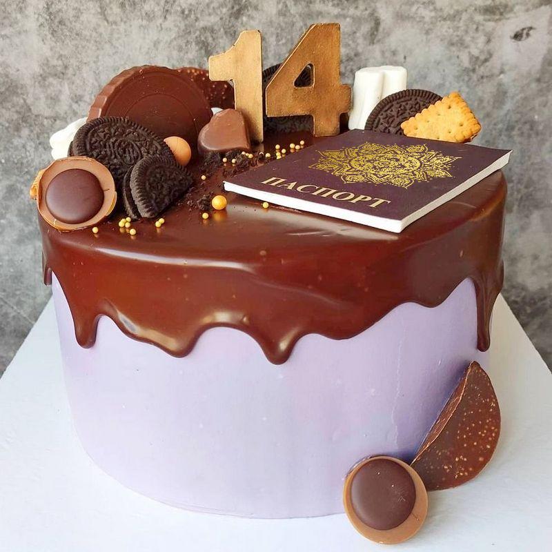 Торт с шоколадными конфетами и паспортом девочке на 14 лет