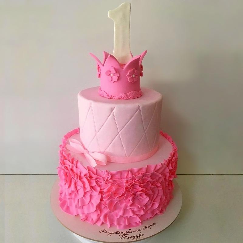 Торт с рюшами из мастики девочке на годик