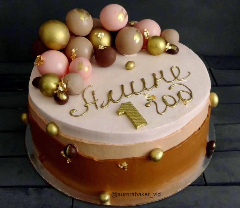 Торт с шарами девочке на годик