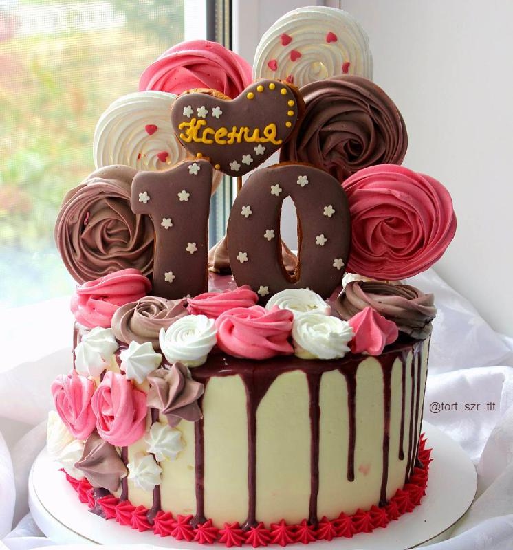 Торт шоколадный девочке на день рождения на 10 лет