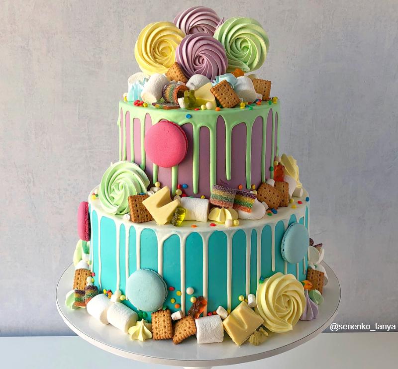 Торт сладости для девочки на 10 лет двухэтажный