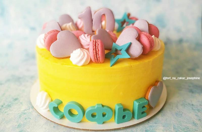 Желтый торт девочке на 10 лет