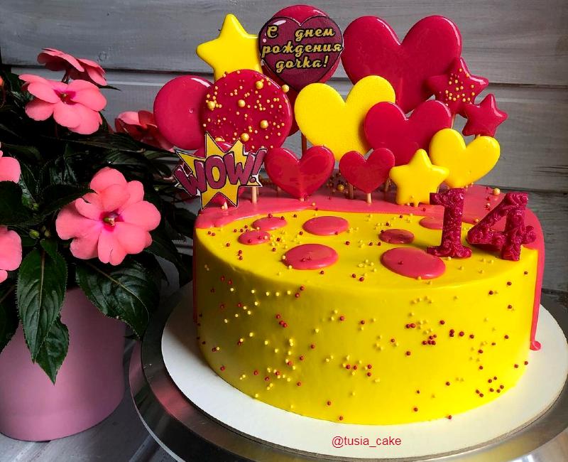 Яркий торт девочке на 14 лет