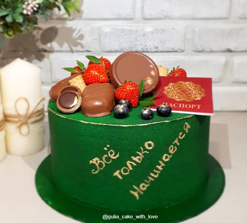 Зеленый торт велюр с паспортом и надписью Все только начинается для девочки на 14 лет