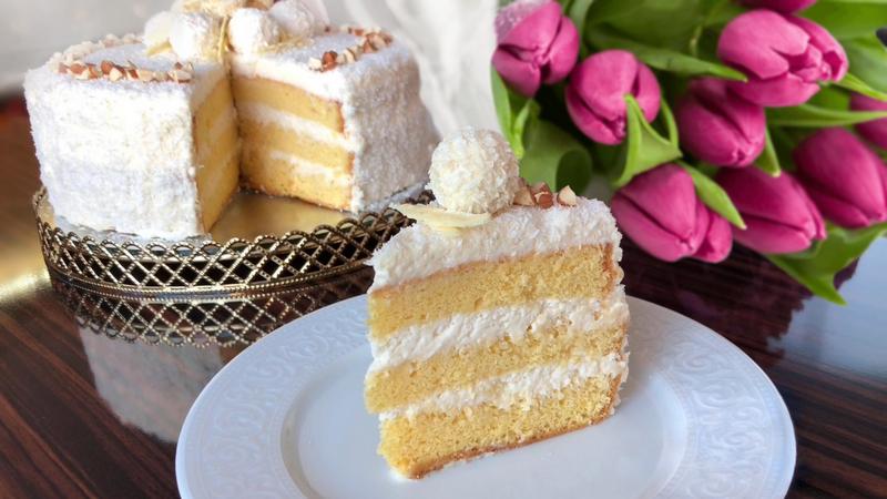 Простой торт Рафаэлло с настоящим кремом на сгущенке рецепт