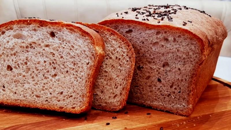 Ржано-пшеничный хлеб с картофельным пюре на дрожжах