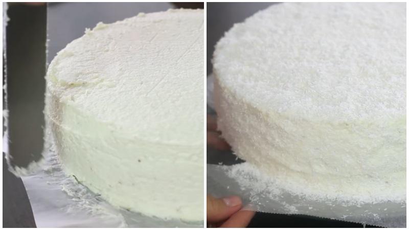 Выравниваем бока и верх, обсыпаем торт Рафаэлло кокосовой стружкой