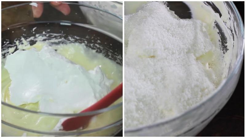 Приготовление крема с кокосовой стружкой для торта Рафаэлло