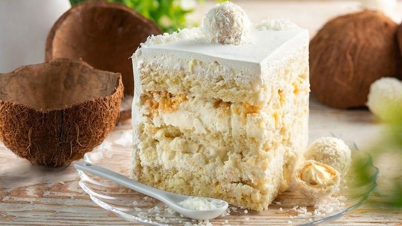 Торт Рафаэлло разрез - рецепт в домашних условиях