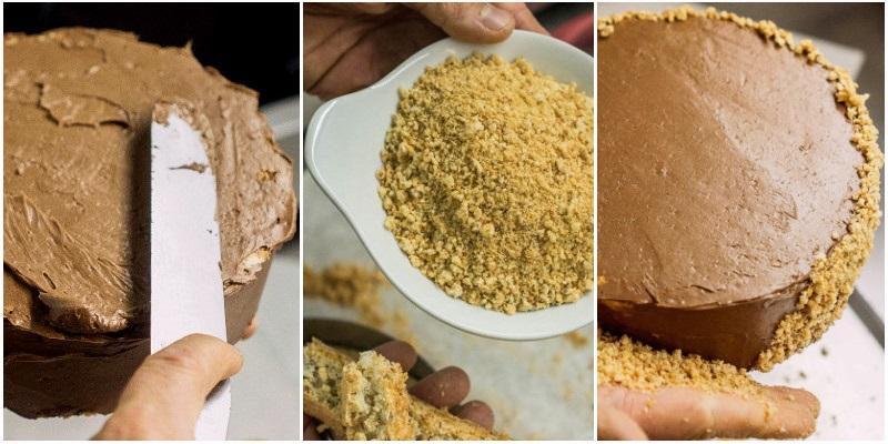 Обсыпаем крошкой торт Киевский