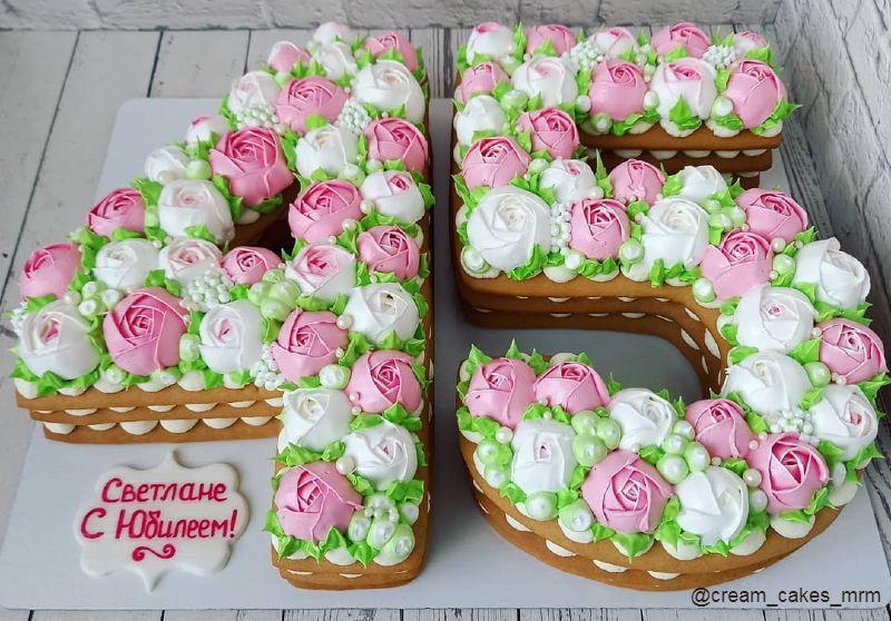 Торт цифра 45 женщине на юбилей