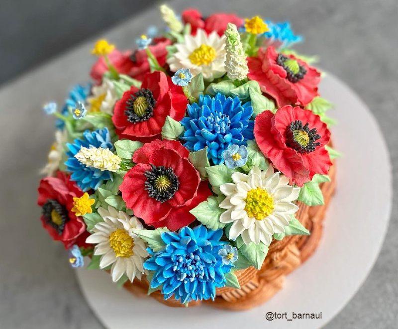 Торт корзинка с цветами маме на др