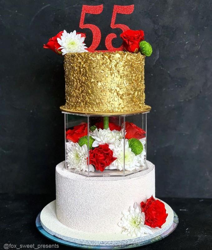 Торт трехэтажный женщине на 55 лет