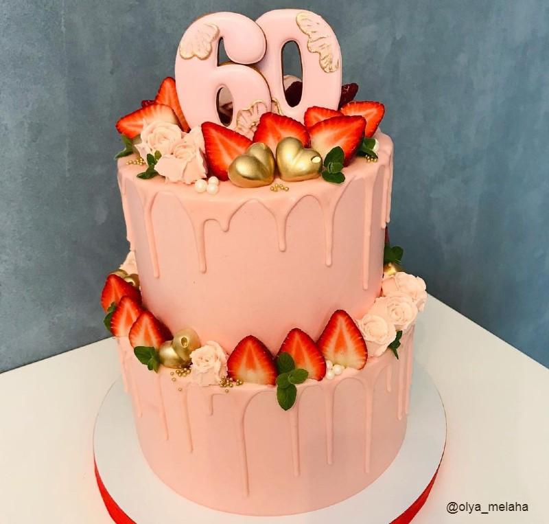 Торт женщине на 60 лет двухъярусный