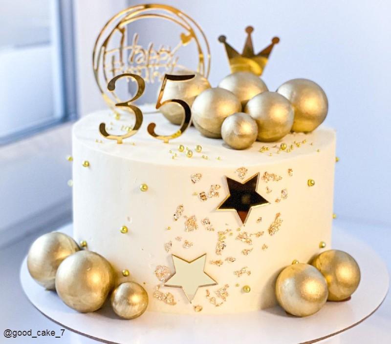 Золотой торт женщине на день рождения